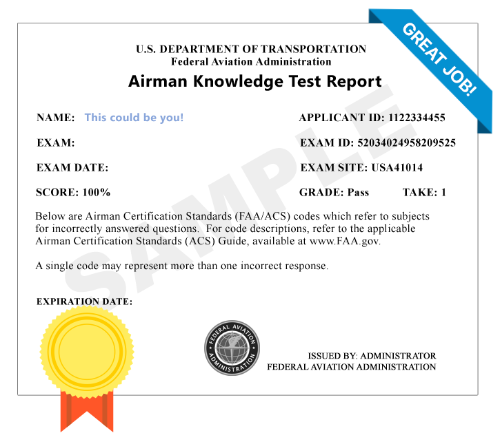 FAA Instrument Rating Airplane (IRA) Knowledge Test Score Results